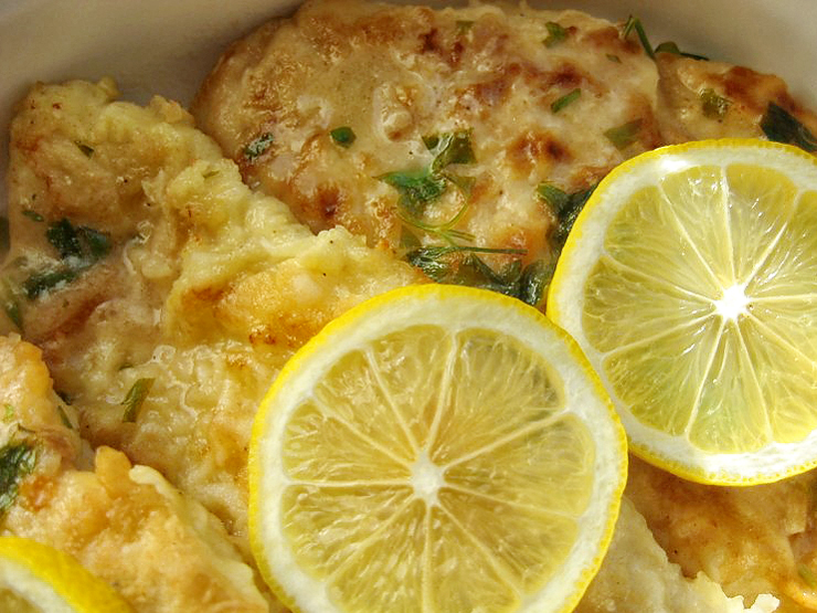 Chicken francese with butter lemon sauce