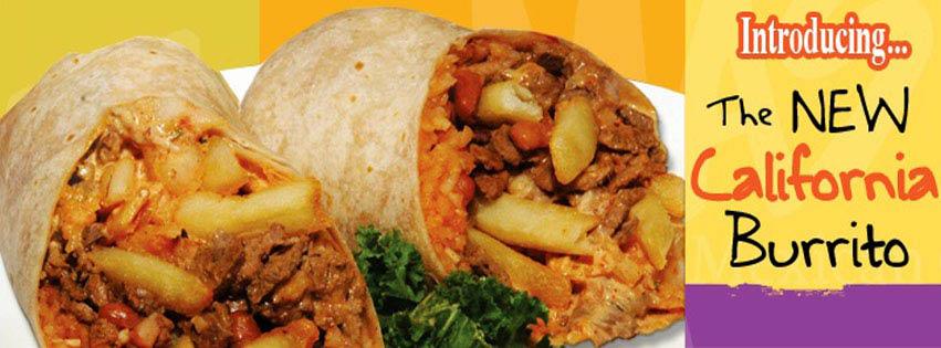 Â¡Una Mas! Mexican Restaurant in San Jose, CA; burrito advertisement
