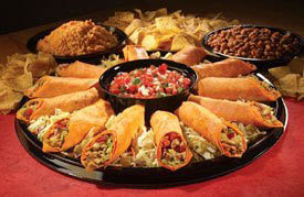 tray of Mexican burritos catered by Â¡Una Mas! Mexican Grill in CA