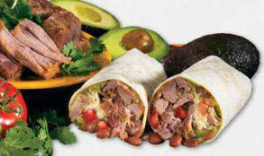 Two burritos with sliced avocados and salad from Â¡Una Mas! Mexican Grill