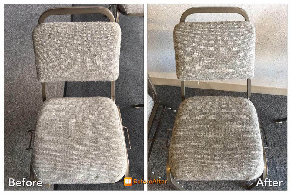 Before and after photo of cleaned chair; Modernistic Cleaning, Troy