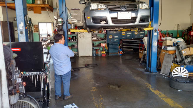 auto repair area at V-TEC Auto Repair in California