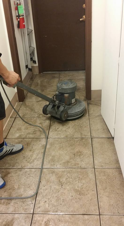 Tile cleaning in process