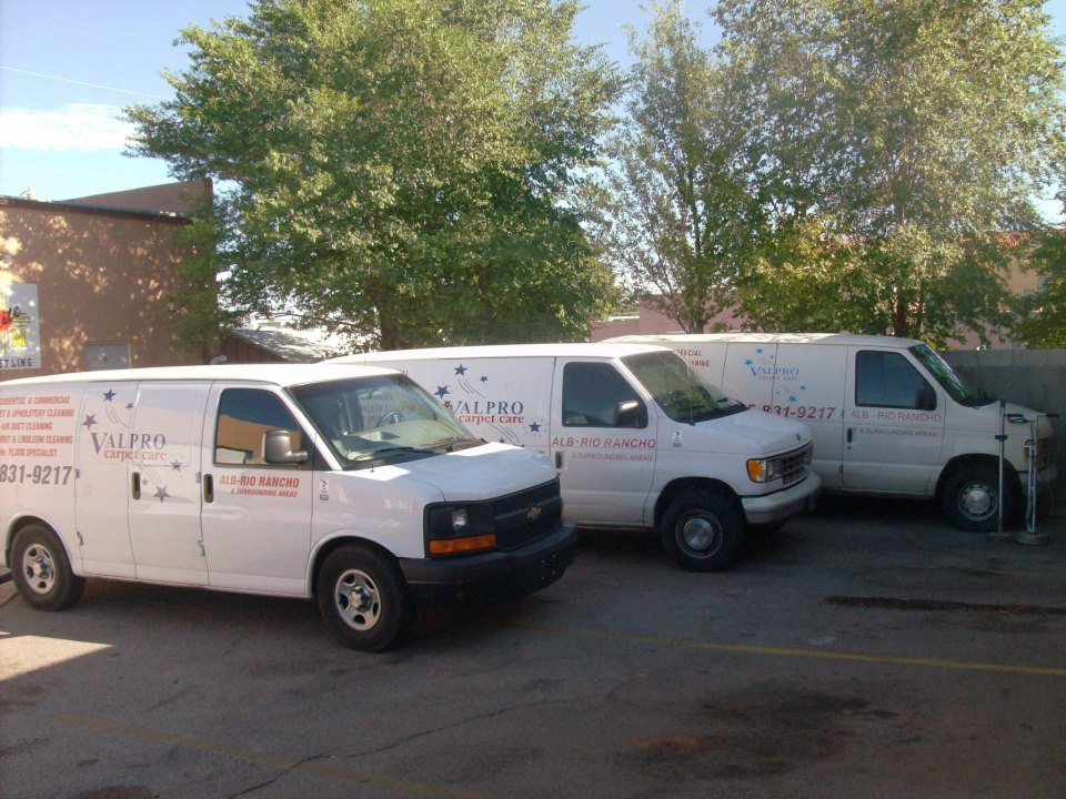 Our truck-mounted vans ready to go