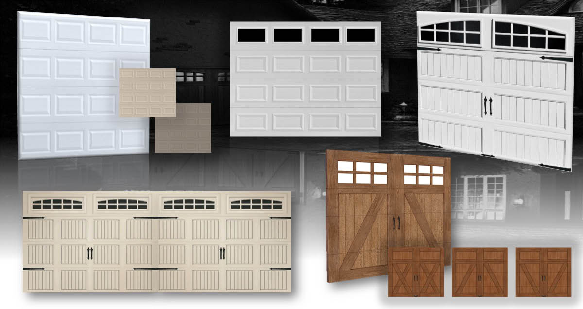 Garage door styles made from various materials
