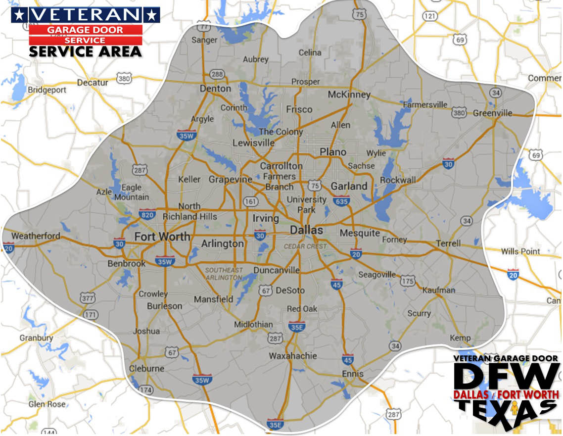 We cover the entire DFW area with Garage Door Services