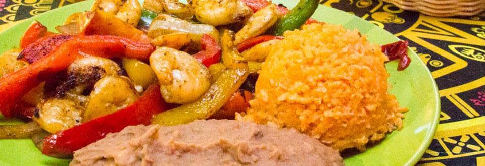 Shrimp Fajitas, rice and beans at Villa Nueva in Minooka, IL.