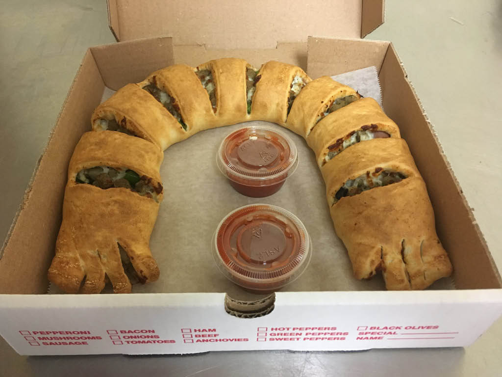 Fresh calzone from Village Pizza in Oklahoma City, OK