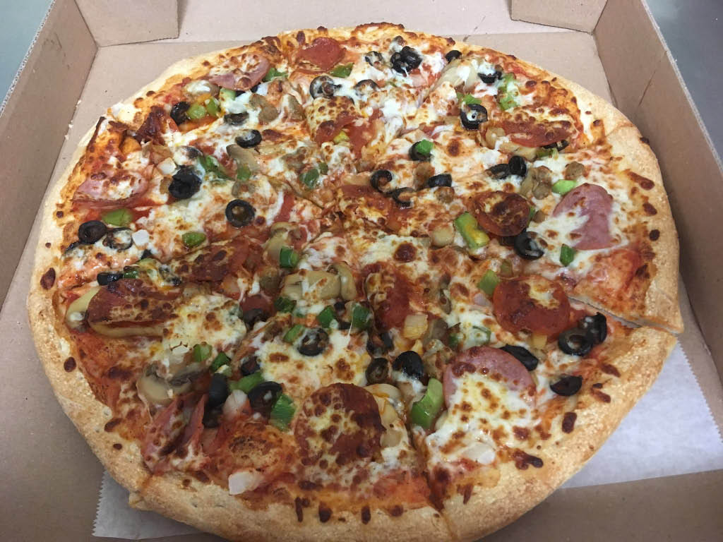 Supreme pizza ready for local delivery to your door