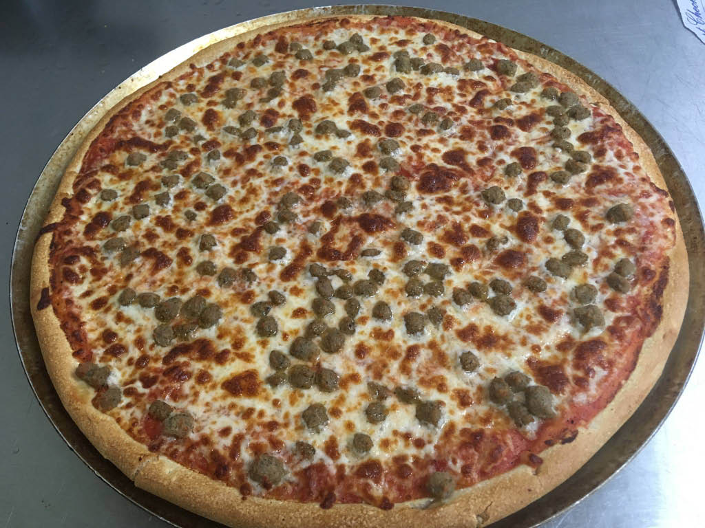 Cheeseburger pizza from Village Pizza