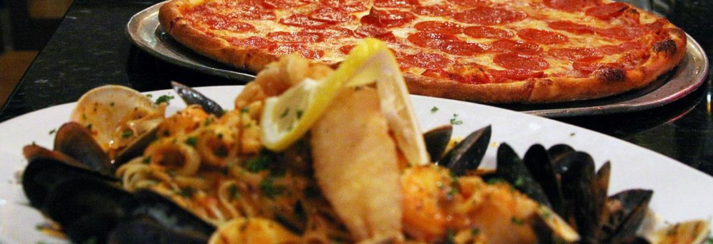 Homemade, Hand-Tossed Pizza NY-Style Italian & Plated Mussels banner