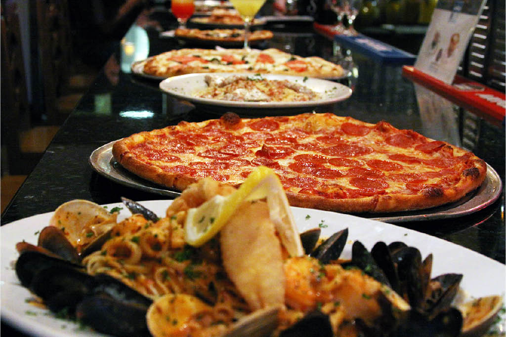 NY Italian style foods including pizza and pasta