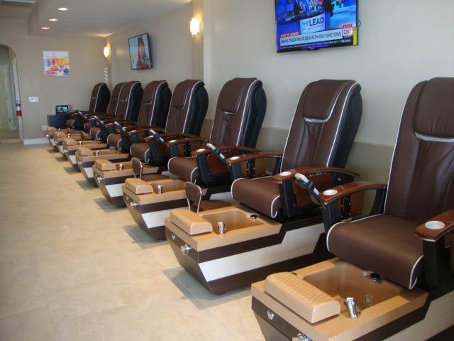 V Nails & Spa interior of mani-pedi chairs
