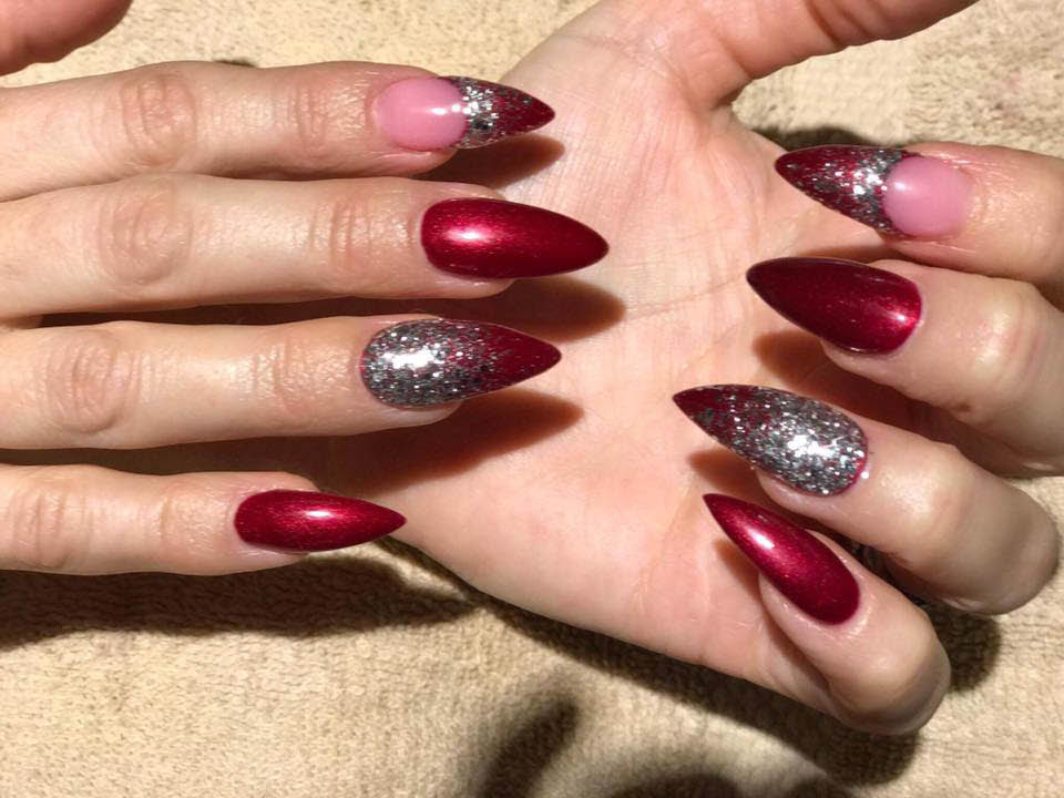 Red and silver polish give a distinctive evening look
