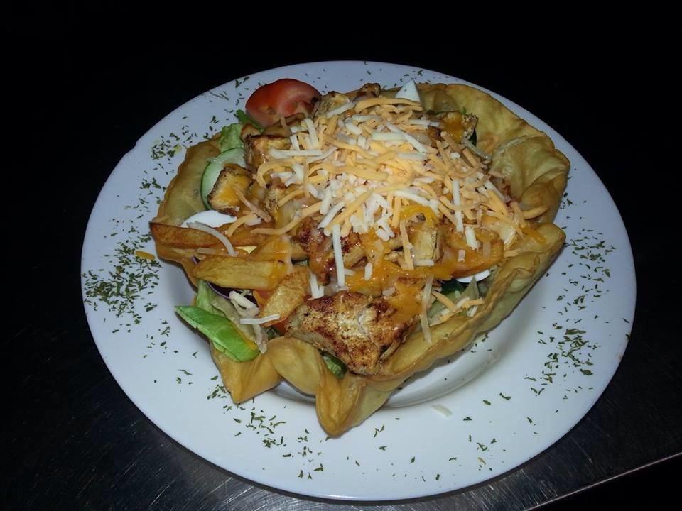Delicious taco salad piled high near Rheems, PA