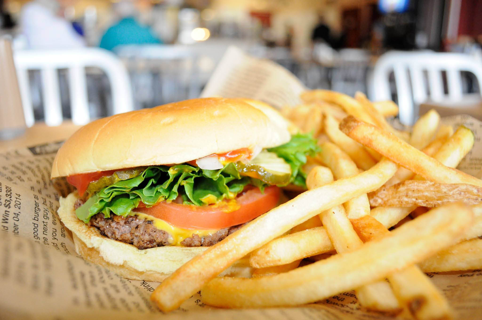 Juicy Wayback Burger and fries make a great lunch or dinner