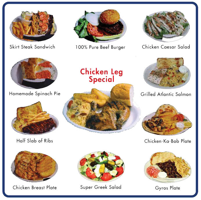 Restaurant coupons for American and Greek food