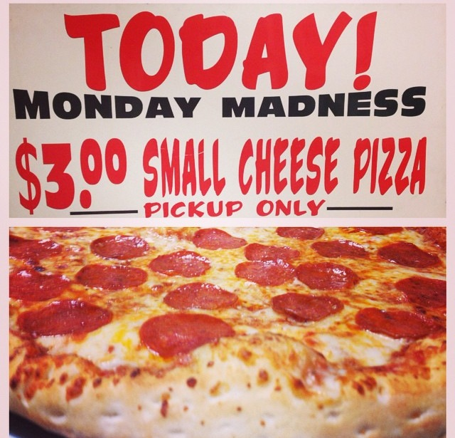 Visit us for Monday Madness and pick up a pizza deal to go