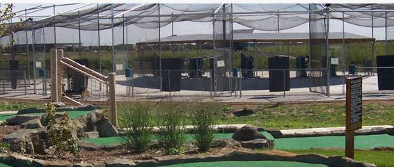 Batting cages for baseball and softball players.