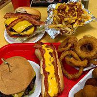 fries, onion rings, snacks, burger, hamburger, cheeseburger
