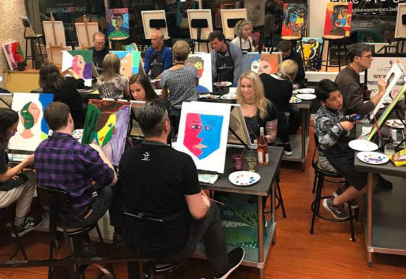 group painting classes; wine and paint parties