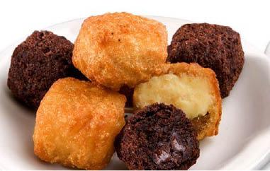 Desserts including banana cheese cake and fudge brownie cupcake