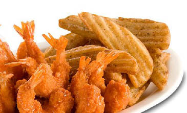 Fried shrimp and chips at Wing Zone