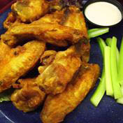 Wings with celery and blue cheese - a perfect match for an icy-cold beer
