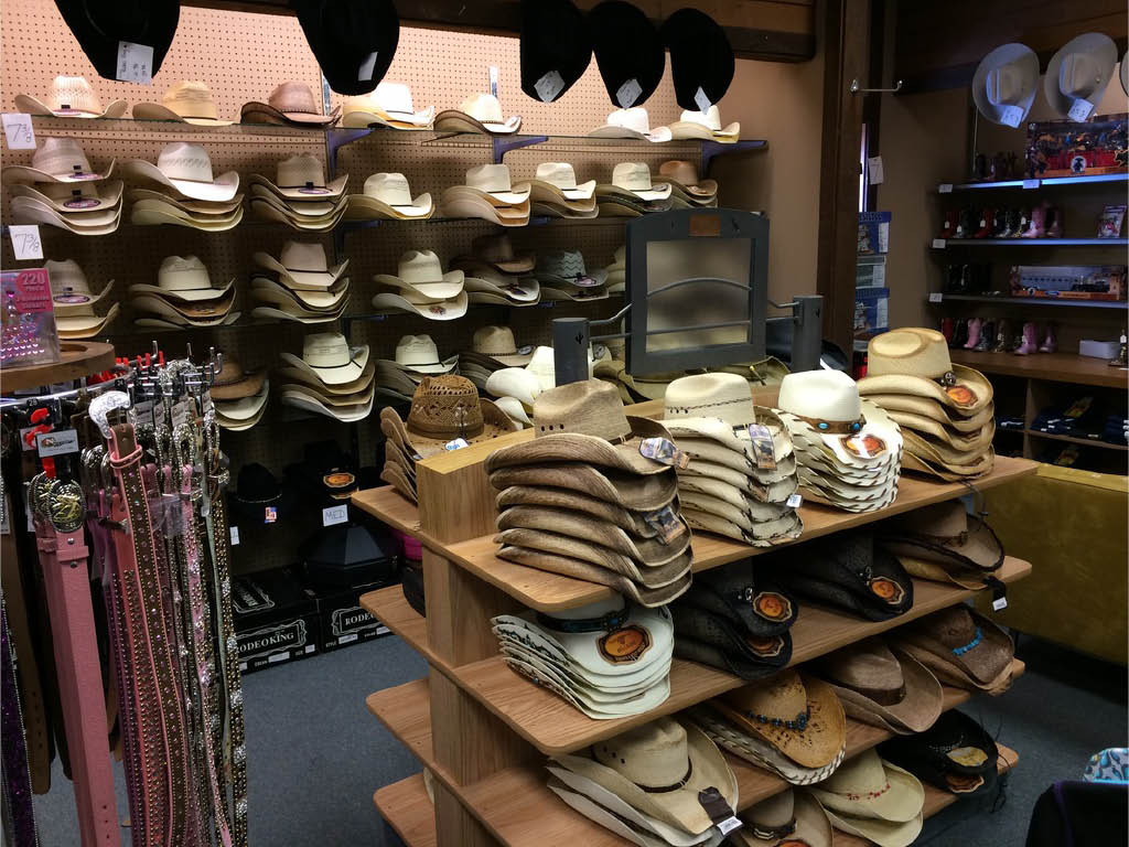 Many styles and colors of hats to choose from