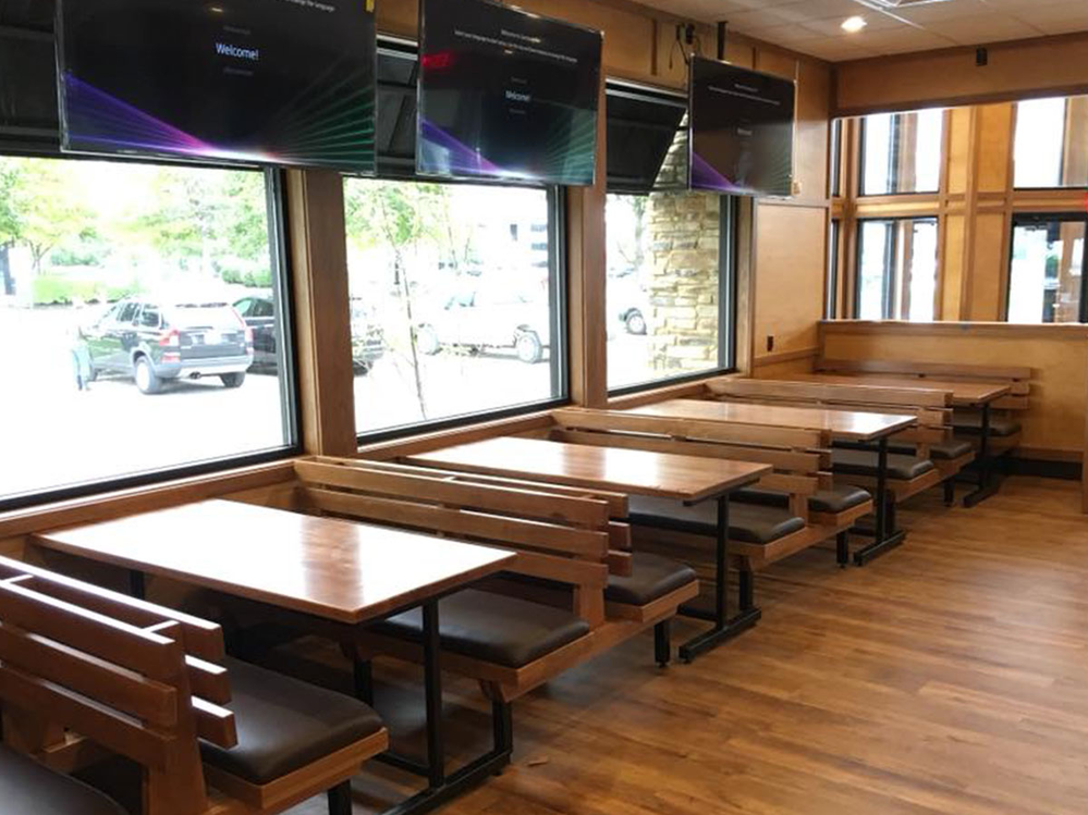 Woody's Wing House booth and window seating