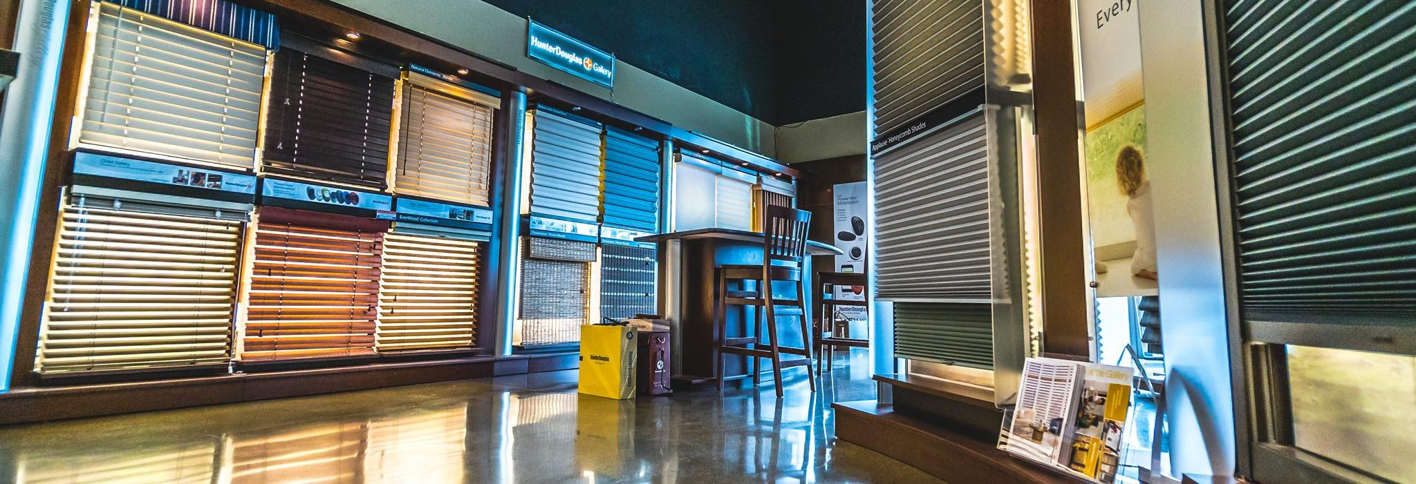 window dressing showroom, hunter douglas, blinds, shades, window treatments