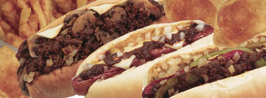 3 different types of gourmet hot dogs; Yocco's Hot Dogs
