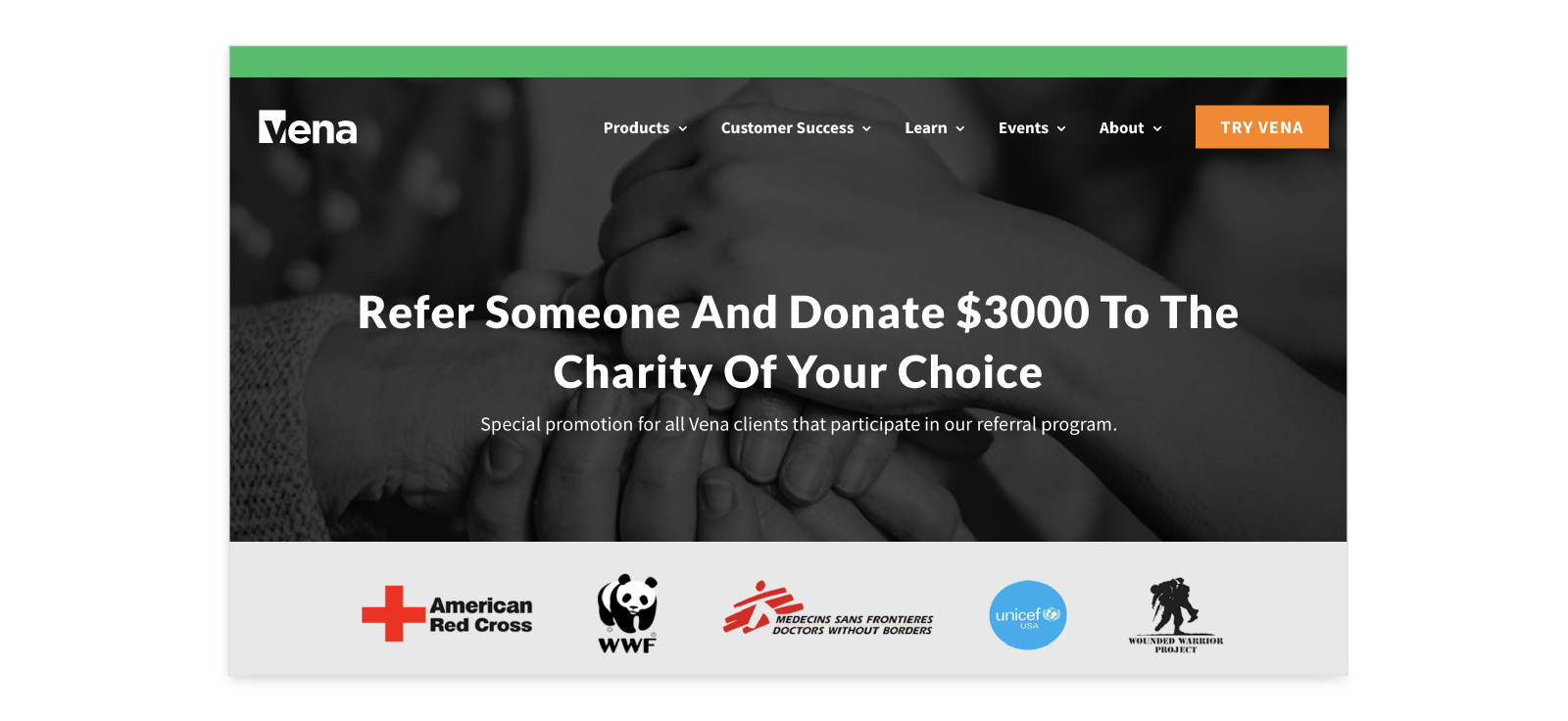 vena solutions charity referral example