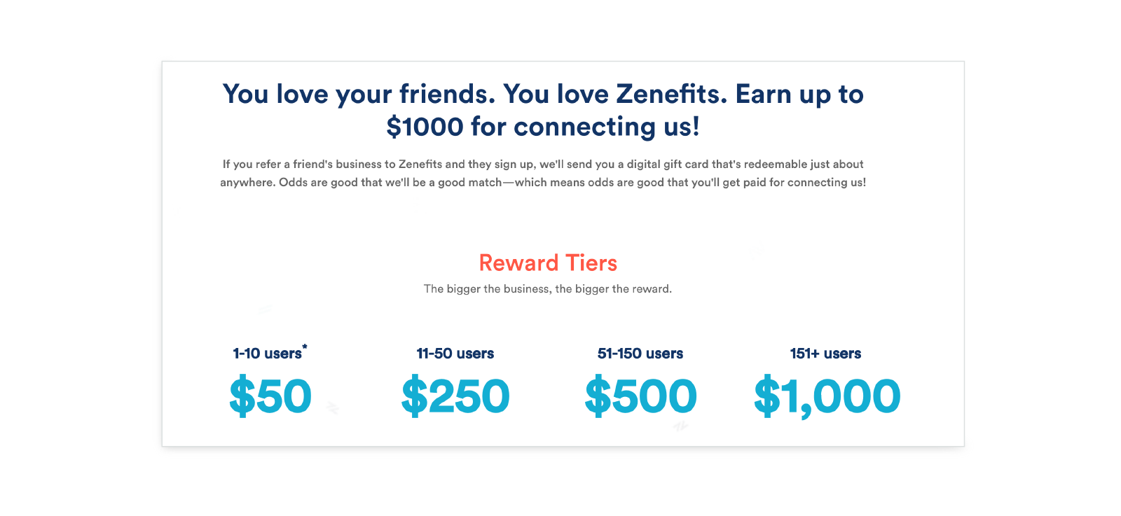 zenefits tiered reward referral example