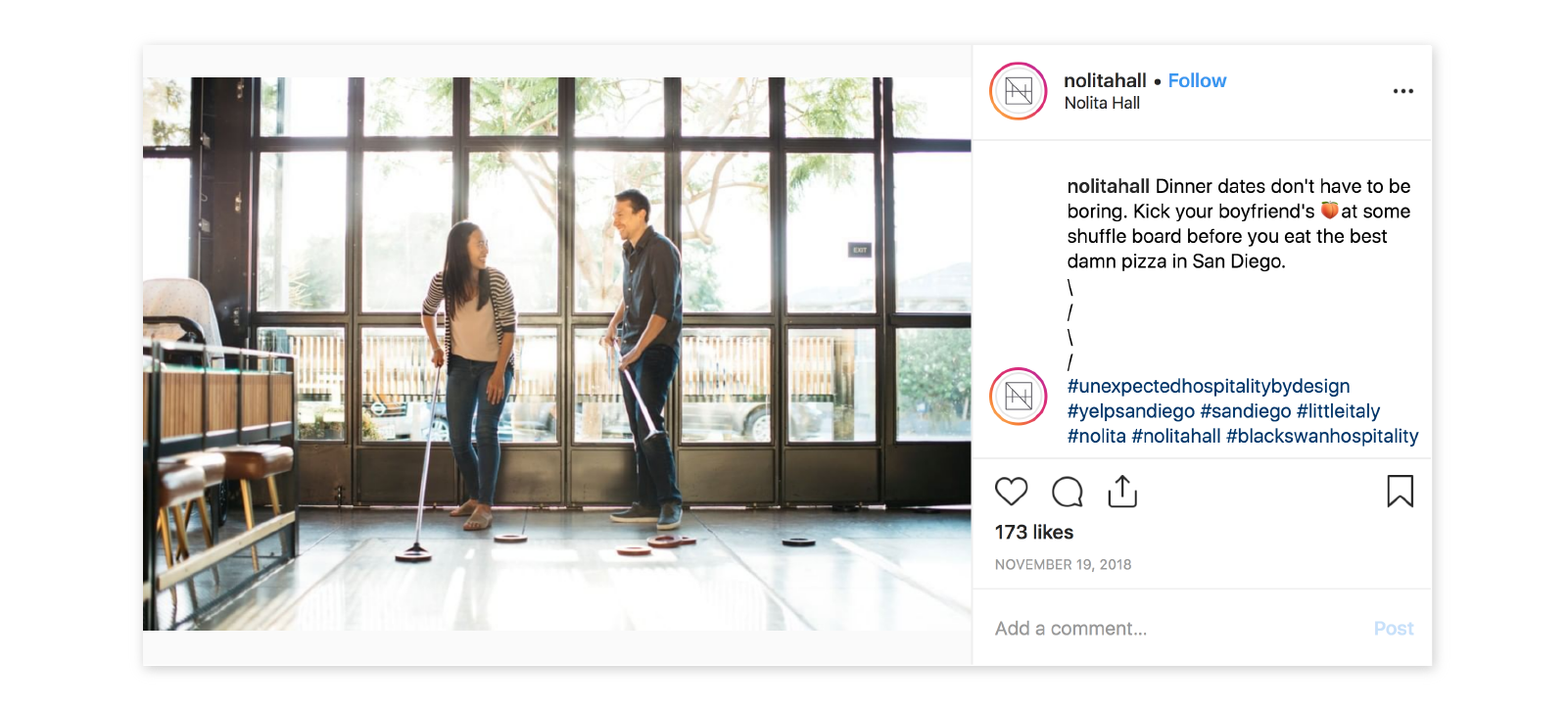 nolita hall shuffle board instagram photo