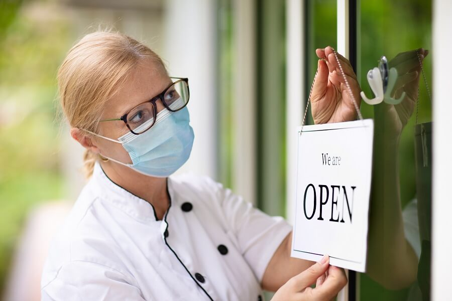 facemask business owner reopening